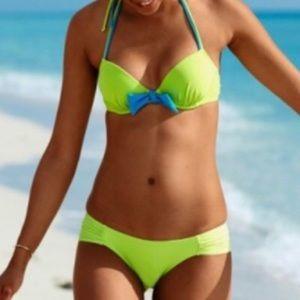 Aerie Blakely Bikini Set Citrus Bra Top 34D Small